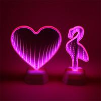 ingrosso fata leggera a letto-3D Heart LED Fairy Tunnel Lamps 3D Marquee Night Lights Novità Cloud Star Bell Lamps Per Desk Table Table Comodino Decorazione