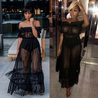 5ce4d21e43 2018summer amazon hot style cross - border women s night club sexy long  skirt one word shoulder sex appeal perspective net gauze dress