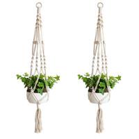 ingrosso decorazione di vasi di fiori-Pianta Hanger Hook Flower Pot Handmade Knitting Naturale Fine Cordage Holder Cestello Cestino Giardino di casa Balcone Decorazione 9zd CV