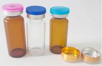 viales de inyección de vidrio transparente al por mayor-10ML Amber Clear Viales de vidrio vacíos Botellas de inyección Tarros Contenedores con tapón de butilo de silicona Flip off Cap