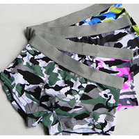 Wholesale Camouflage Sexy Underwear - Wholesale luxury brand boxer for men fashion letter print breathable camouflage men boxer cotton men brand underwear free shipping