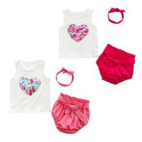 conjuntos de ropa interior rosa niñas al por mayor-3 UNIDS Summer Baby Girls Ropa Linda Set Infant Kids Chaleco Sin Mangas + Ropa Interior Rosa Sólida + Headwear Ropa Traje 2018
