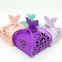 Wholesale laser cut boxes designs - Design-6 100pcs Laser Cut Hollow Butterfly Crown Flower Candy Box Chocolates Boxes For Wedding Party Baby Shower Favor Gift C341