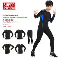 erkekler sıkı egzersiz giysileri toptan satış-Çocuk Spor Takım Elbise Çocuklar Egzersiz Spor Giyim Spor Giyim Erkekler Boys Eğitim Spor Koşu Eşofman Koşu Setleri Tayt