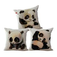 almofadas do quarto venda por atacado-Almofada Panda Engraçado Nordic Almofada de Algodão de Linho Romântico Sofá Carro Cadeira Do Quarto Panda Home Decorativa Caso de Fronha de Lance