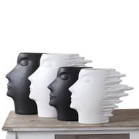cabeza abstracta al por mayor-Resumen Cara Florero Arte moderno Hombre de viento Escultura Cerámica Cabeza humana Estatua Moda Decoración del hogar Artesanía Negro Blanco