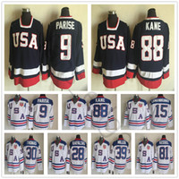 Wholesale usa hockey jerseys - 2010 Olympic Team USA Hockey Jerseys 88 Patrick Kane 9 Zach Parise White Blue 81 Kessel 28 Rafalski 39 Miller 15 Langenbrunner Jersey