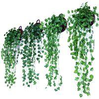 panier mural pour fleurs achat en gros de-Vert Artificielle Panier Suspendu Feuilles Jardin Ornement Floral Simulation Rattan Faux Vigne Tenture Murale Décoration 4 75mh jj