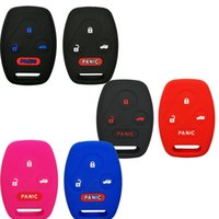 Wholesale Honda Fob Case - Silicone Rubber Keyless Entry Remote Key Fob Case Skin Cover Protector for Honda 3+1 Buttons