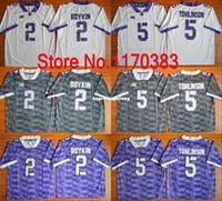 ingrosso jersey calcio americano viola-TCU Horned Frogs # 2 Trevone Boykin Jersey # 5 LaDainian Tomlinson Jersey Purple White Grey NCAA American College Football Jerseys