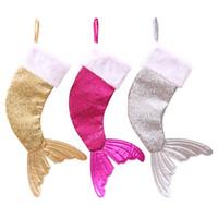 ingrosso sacchi di sequin di vendita-Colori Mermaid Tail Candy Bags Buon Natale Calza Sequin Magia Ornamenti per l'albero Regali per bambini Vendita calda 24wb Ww