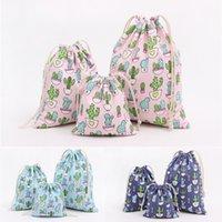 mavi şeker poşetleri toptan satış-STOKTA VAR!!! Hediye Candy için Noel Cactus Koyu / Açık Mavi Pembe Noel Hediyesi Çanta Saf Keten Pamuk Tuval İpli Torba Çanta
