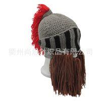 Wholesale ear warmer face mask online - Handmade Full Face Mask Winter Warm Originality Beanies Knit Beard Hat Ear Guard Hook Weave Cosplay Roman Helmet Shape se jj