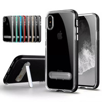 Wholesale Iphone Heavy Duty Metal Case - For iPhone X 8 7 6 Plus Case Hybrid Bumper Cover Transparent Heavy Duty Armor Case with Magnetic Closure Kickstand for samsung galaxy
