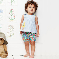 Wholesale cute baby girl clothes wholesale - Baby Girl Summer Woven Clothing Sets Short Sleeve Appliqued Summer Tops + Printed Shorts Cute Girls Clothing Sets