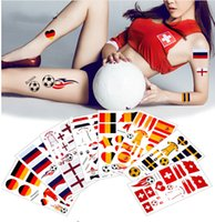 Wholesale temporary tattoos stickers words - 8 Countries Designs 1 Sheet 2018 Word Cup Football Games Tattoo Sticker Flag Germany Russia Temporary DIY Body Tattoo