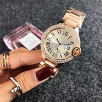 relógio de diamantes de ouro branco venda por atacado-2018 marca de moda rosa de ouro relógio de diamantes relógios das senhoras das mulheres designer de vestido branco rostos romanos mostradores romanos relógio de quartzo de aço inoxidável