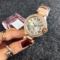 elmas yüz saatleri toptan satış-2018 Moda marka gül altın İzle elmas saatler bayan Tasarımcı Bayanlar elbise beyaz yüzleri siyah roma kadranları Paslanmaz çelik kuvars saat