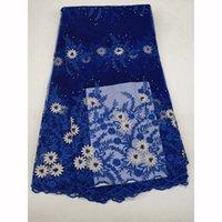 preço líquido do tecido venda por atacado-Elegante Preço Africano Rendas Tecido Africano 2018 Bordado Azul Francês Malha Frisado Nigeriano Net Laces Tecidos Material