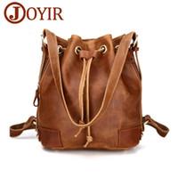 Wholesale open string man resale online - JOYIR Vintage genuine leather backpack woman interior zipper pocket bucket bag backpacks for teenage girls woman bag casual