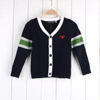 suéteres de verano para niños al por mayor-Ropa infantil 2018 Primavera verano para niños Chicos con suéter tipo rebeca Vestidos lindos para niños de moda