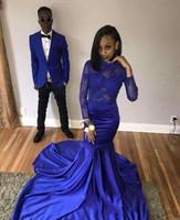 elástico real venda por atacado-2018 Azul Royal Jewel Pescoço Vestidos de Baile Manga Comprida Lace Apliques Sereia De Cetim Elástico Sereia Sweep Train Formal Evening Ocasião Vestidos