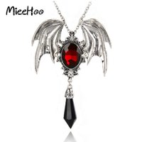 Wholesale Vintage Halloween Bat - whole saleMieehoo Hot Sale New Arrival Gothic Halloween Necklace Red Crystal Vampire Vintage Bat Pendant For Men And Women Drop Shipping