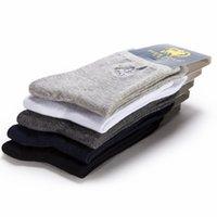 kaliteli uzun çoraplar toptan satış-Standart Pamuk Pierpolo Marka Çorap Yüksek Kalite 5 çift / grup Erkekler İş Erkek Çorap Nakış Uzun Elbise Çorap Calcetines