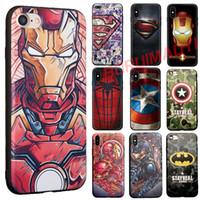 superman silicone venda por atacado-Relevo dos desenhos animados superman hero tpu soft phone case capa para 6 6 s 7 8 plus capitão américa homem de ferro superman iphone x casos
