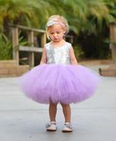 niñas brillan los vestidos al por mayor-Dulce princesa púrpura vestido de bola Vestido de niña de flores 2018 Sliver Girls Vestidos del desfile Glitter Gold Sequins