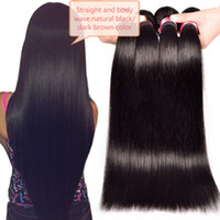işlenmemiş saç toptan satış-Brezilyalı Bakire Saç Vücut Dalga Düz 3 Demetleri / lot Işlenmemiş Doğal Siyah Koyu Kahverengi Renk Çift Atkı Saç Uzantıları saç örgü