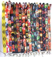 batman telefon askısı toptan satış-300 ADET Avengers Örümcek-Adam Demir Adam Justice League superman Batman karışık desen telefon Boyunluklar tuşları KIMLIK boyun sapanlar hızlı kargo