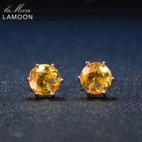 jóias em mosaico venda por atacado-LAMOON 925 Sterling Silver Stud Brincos Fine Jewelry 7mm 1.2ct Mosaico Rodada Natural Citrino Moda Simples Âmbar Kaffa Brincos