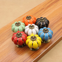 ручки тыквенного ящика оптовых-7 цветов тыквы кухонные шкафы ручки спальня шкаф ящики керамические двери тянуть ручки с винтами 4*4*4 cm