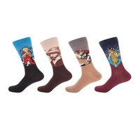 Wholesale couple animals painting for sale - 4 pairs funny socks men retro oil painting men sock cotton colorful couple art socks combed cotton stocking