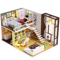 diy oyuncak kiti toptan satış-DIY Ahşap Bebek Evi Oyuncak Dollhouse Led Mobilyaları Ile Minyatür Kiti Monte El Sanatları Minyatür Dollhouse Basit Şehir Modeli