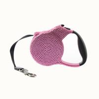 welpen rosa großhandel-Blaue rosa Rhinestone-Hundeleine einziehbare kleine Zucht-einziehendes ausdehnbares Trainings-Blei 3M blauer Stein-Haustier-Welpen-Mode-Hundegehen