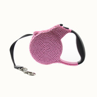 cachorro rosa al por mayor-Blue Pink Rhinestone Dog Leash retráctil raza pequeña retráctil extensible formación Lead 3M Blue Stone Pet Puppy moda perro caminando
