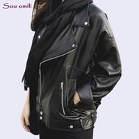 schwarze lederjackenkette großhandel-Freund lose Lederjacke Frauen übergroße schwarze Jacke Moto Jaquetas couro Casaco Chaquetas Kette Punk