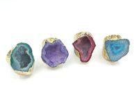 homens anéis reais venda por atacado-JLN Ágata Geode Anel Tamanho Livre Azul Royal Sparkly Druzy Oco Ágata Gemstone Declaração Anel De Ouro Para O Homem E a Mulher