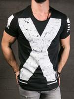 ingrosso magliette a collo maschio v-T-shirt manica corta in cotone con scollo a V manica corta da uomo T-shirt manica corta in cotone con stampa a maniche corte