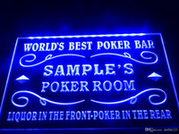 Wholesale poker signed - DZ044b- Name Personalized Custom World's Best Poker Room Liquor Bar Beer LED Neon Beer Sign