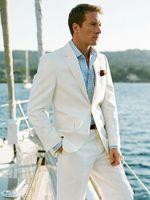Wholesale Grey Bespoke Tuxedo - White Linen Blazer Custom Made Linen Suit ,Sharp Look Tailored Groom Suit Bespoke Mens Suits For Wedding Tuxedos For Men