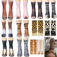 xmas kedi toptan satış-3D Hayvan Ayak Tırnak Çorap Pamuk Cosplay Baskılı Kedi Köpek Kaplan Paw Ayak Çorap Yetişkin Çocuklar Için Xmas Ev Sıcak Stocking Hediyeler WX9-822