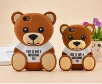 Wholesale Silicone Case Teddy - Cartoon Silicone Phone Case for iphone 6 6s plus 7 plus 8 plus 3D Teddy Bear hug drop resistance protective sleeve