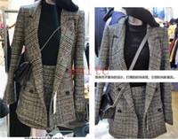 kore palto etekleri toptan satış-Moda Bayanlar Kore Izgara Yaka İnce Blazer Suit A-line Coat + Etek