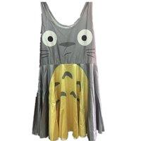 vestido de totoro al por mayor-Vestido de fiesta plisado de verano de Studio Ghibli Girls My Neighbor Totoro vestido corto para niños