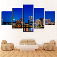 Wholesale oil painting framed abstract building - HD Printing Wall Art Framework Poster Living Room Decoration 5 Pieces City Building Night Scene Painting Modular Canvas Pictures