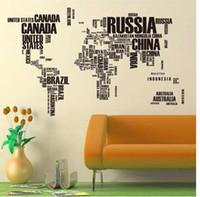 papel de carta grande venda por atacado-Carta De Cartaz Grande Do Vintage Mapa Do Mundo Decoração De Casa Detalhada Ensino Papel De Carta Gráfico Mapas De Borracha Natural