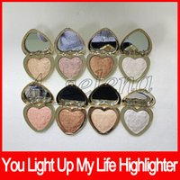 Wholesale natural heart shape - Faced eyeshadow palette Heart Shape Pressed Powder 8 colors highlighter powder palette love light highlighter dhl free